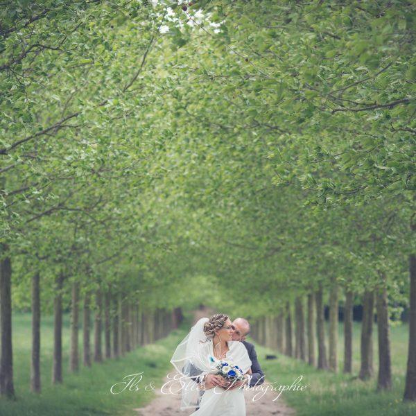 Photos de couple dans les jardins du château de Plaisir