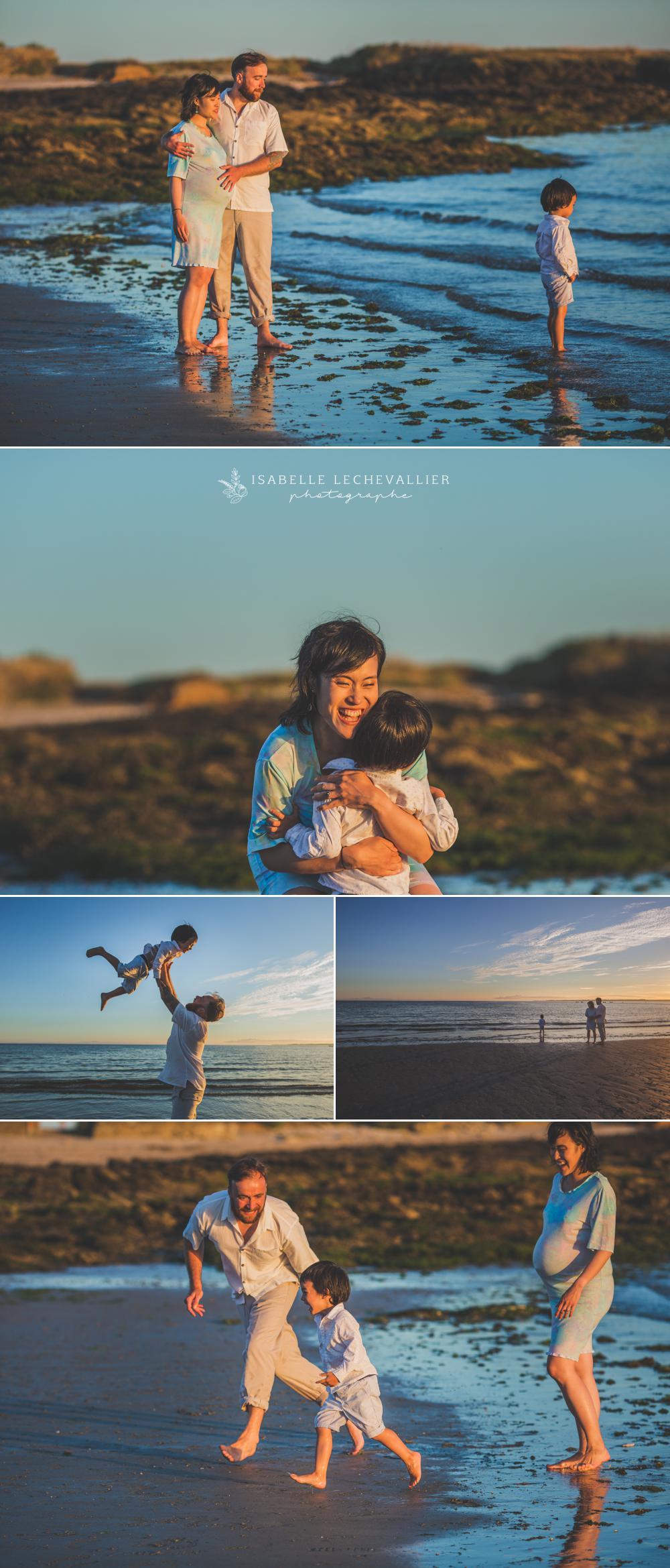photos en famille à la plage en attendant bébé