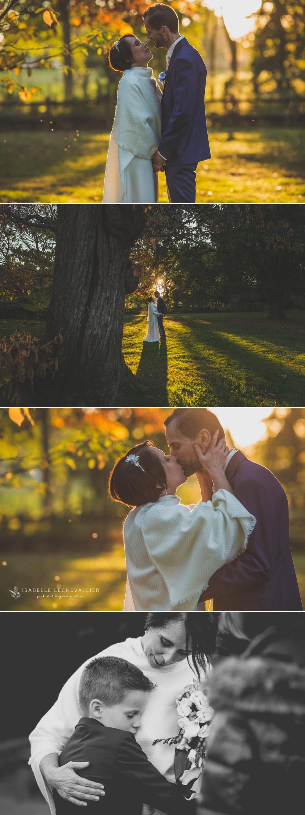 Photos de couple en forêt au coucher du soleil