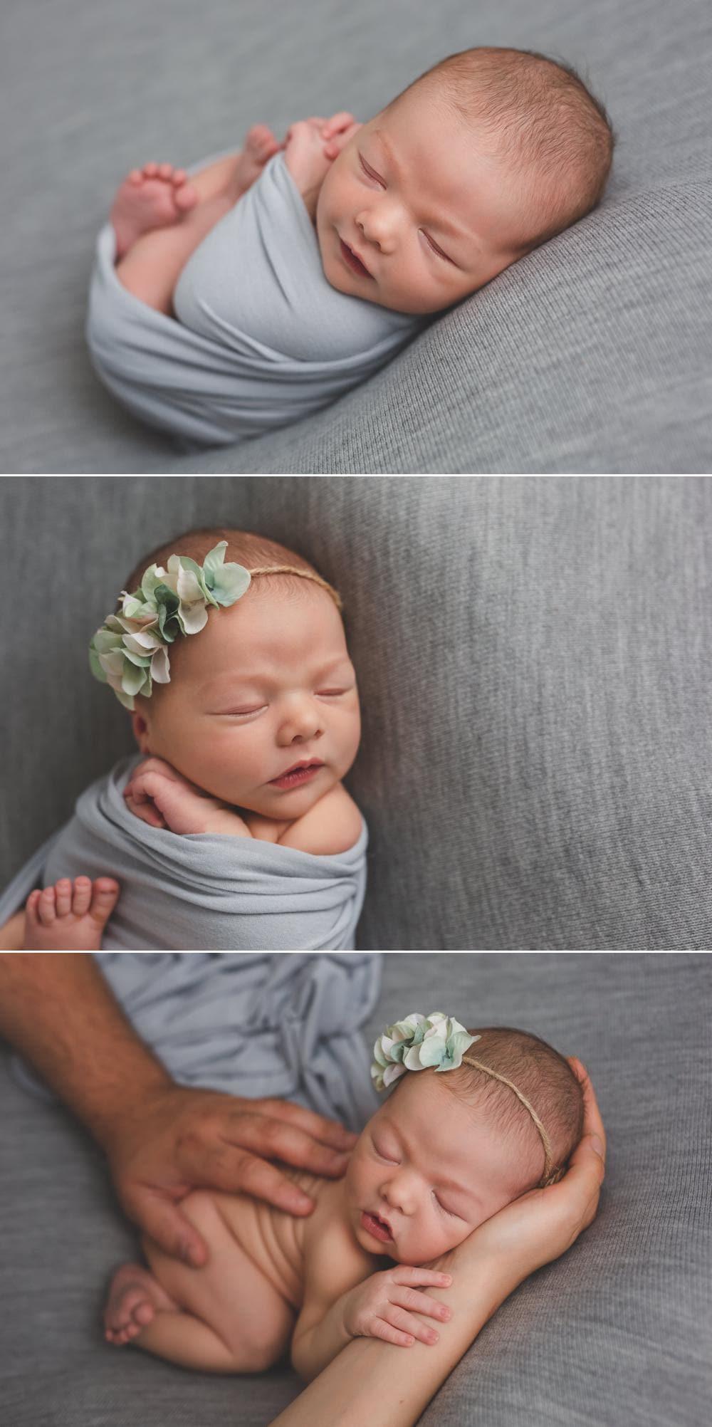 bébé fille dans une ambiance bleu